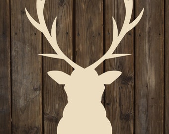 Deer Head Silhoutte Wood Sign Canvas Wall Art  - Valentines Day, Christmas, New Baby, Nursery, Wedding, Man Cave, Father's Day, Garage