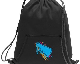 Sweatshirt material cinch bag with front pocket and splash screen print - Cheerleading - Black - Light Grey - Dark Grey - BG614