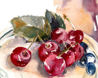 Cherries watercolor print, kitchen wall art, watercolor painting art, watercolor print, red cherries still life painting