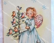Vintage Christmas Card  - Singing Angel Tree Birds - Unused Rust Craft