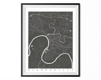 Clarksville Map Art Print / Clarksville City Poster / Clarksville Wall Art / Tennessee/ Gift / Tennessee home decor
