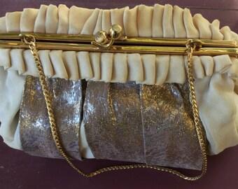 Vintage Beige Chiffon & Gold Lame Purse - by Morris Moskowitz MM - 1960s 1970s