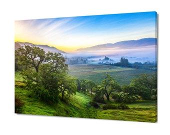 Fine Art Photograph, California Landscape Print, Napa Valley Sunrise Art, Wine Country Canvas, Misty Vineyard Photo, Gallery Wrap, Winery
