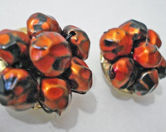 Orange N Black Earrings Clip On Vintage
