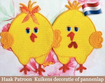 051NLY Haak Patroon - Kuikens decoratie, pannenlap of klein kussen - Amigurumi - PDF file by Zabelina Etsy