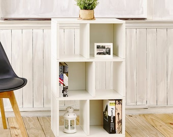 Eco Friendly 3 Shelf Cubby Small Bookcase in Pearl White made from non-toxic, formaldehyde free zBoard paperboard (WB-3SC-WE)