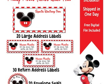 Mickey Mouse Themed Address Label Party Pack - 70 Mickey Mouse Labels - Mickey Address Envelope Set