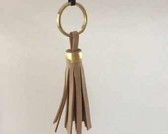 Upcycled Almond Nubuck Leather Tassel