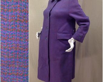 Blue Purple Harris Tweed Long Winter Coat // Women's Small Medium