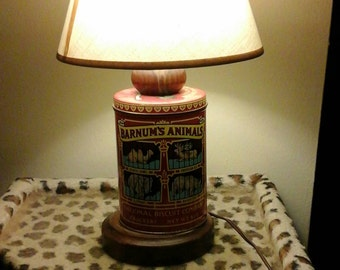 Barnum and Bailey Cookie Tin Lamp