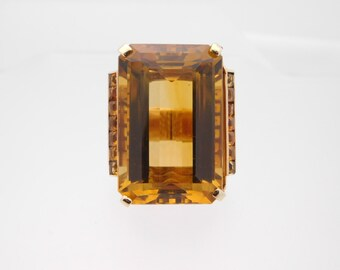 85.42 Carat Emerald Cut Citrine Solitaire Ring With Approx 5.00 CTTW Accents
