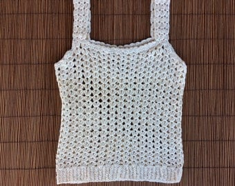 Vintage 1970s Handknit Cream Granny Square Tank Top / Cropped / Boho