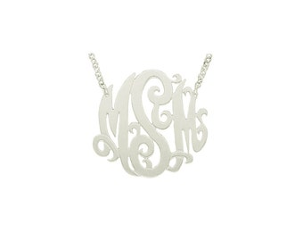 "Mono04A - 1.5"" Sterling Silver Monogram Necklace"