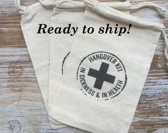 10 Hangover Bags, Hangover Kits, Bachelorette Party Bags, Wedding Welcome Bag Favors, Wedding Hangover Kits, Recovery Kit, Survival Kits