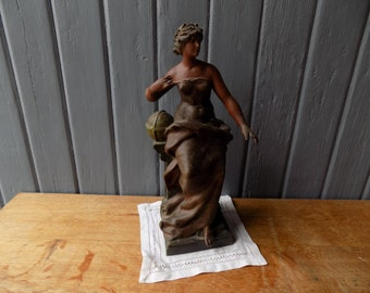 Stunning French antique spelter statue of Lady Victory by Auguste Louis Moreau, Art Nouveau figurine.