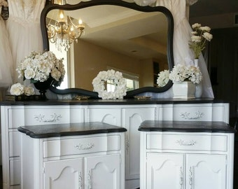 UNAVAILABLE! Gorgeous French Boudoir Glam Dresser Mirror Nightstand Pair Black &White Romantic Chic Hollywood Southern California