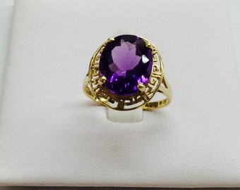 Greek style 14k yellow gold amethyst ring; 12 x 10 mm oval amethyst; purple color,  February birthstone; gift for her. ON SALE