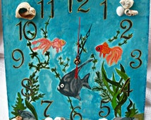 Kids Wall Clock/Wall Clock Fish/Seabed/Clock with natural mussel and snail/