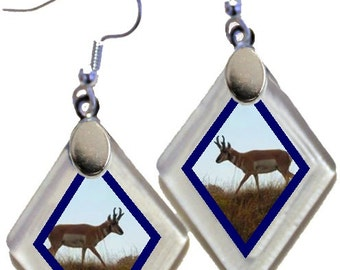 "Earrings ""Antelope"" from rescued, repurposed window glass~Lightening landfills one tiny glass diamond at a time!"