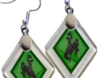 "Earrings ""Wyoming Bucking Horse & Rider(TM) for St Patty's Day!"" from rescued, repurposed window glass~Licensed Product"