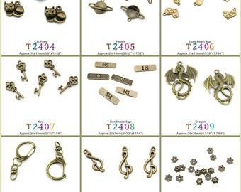 Jewelry Making Charms Pendant Cat Puss Planet Love Heart Sign Key Handmade Dragon Clasps Lobster Clasp Music Musical Note Flower Spacer
