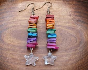 Rainbow earrings, star earrings, rainbow chip earrings