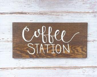 Coffee Station Sign/ Farmhouse Kitchen Decor/ Rustic Home Decor