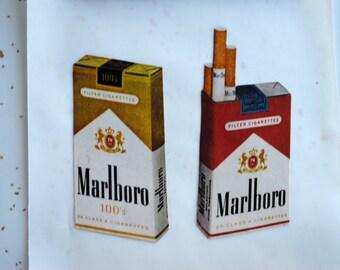 Handmade Marlboro Cigarette Ad Sticker