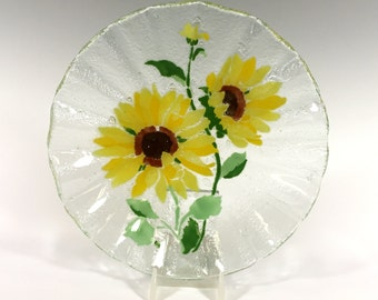Fused Glass Sunflower Bowl
