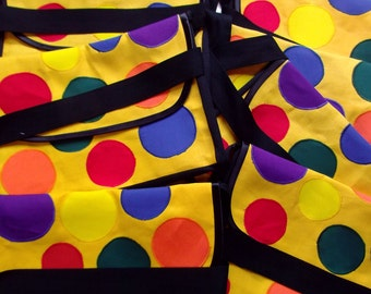 mr tumble yellow spotty bag childs playschool  spotty bag appliqued spots cotton toddler bag appliqued spots handmade something special