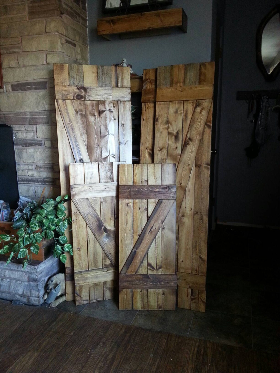Z Bar Rustic Wood Shutters   24 Decorative Shutters   Window Shutters    Wall Shutters   Exterior Or Interior Shutters   Rustic Home Decor