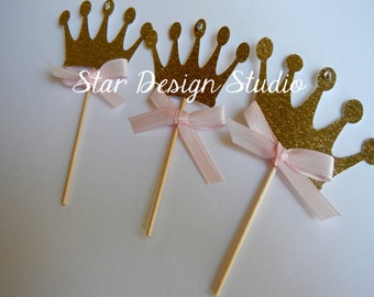 Pink and Gold Cupcake Toppers- Crown, Set of 12