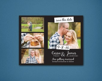 4 Photo Save the Date • Photo Save the Date • Wedding Save the Dates • Save the Date • Black & White