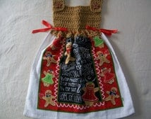 Dress Style Kitchen Towel, Gingerbread Cookies and Recipe Theme, Gingerbread Top, Interwoven Red Ribbon and Gingerbread Star Cookie Buttons