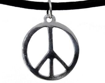 Sterling Silver Peace Sign Symbol Pendant VAR041
