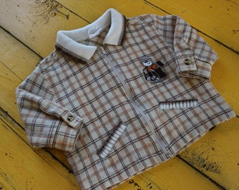 Vintage 18 Months BABY BOY Beige Plaid Jacket, vintage baby boy fall jacket, vintage 18 months coat, retro 18 months vintage coat
