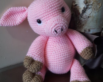 Handmade crochet baby pig