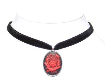 10mm Sanguine Rose Choker Necklace - Goth Wicca