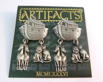 Vintage Noahs Ark JJ Jonette Jewellery Drop Animal Earrings.