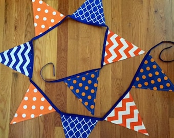 Blue Fabric Bunting - College Tailgate Decor - Orange Flag Bunting - Flag Banner - Polka Dot Bunting - Chevron Bunting - Orange Flag Banner