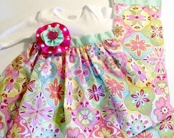 Newborn dress, bodysuit dress and burp cloth, infant dress, newborn bodysuit dress, baby girl dress, baby girl gift, baby shower gift