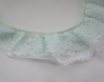 """Mint White Gathered Lace 3"""" inch Ruffled Layered Lace Lingerie Lace Trim Clothing Baskets Decorative Lace Doll Lace Pillow Lace wl108"""