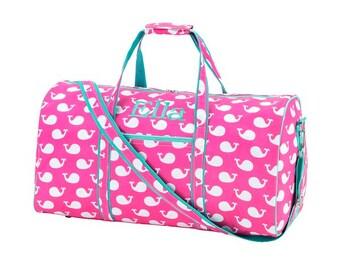 Monogrammed Pink/Mint Whale Duffle Bag/Camp Duffle/Cruise Duffle/Sleepover Bag