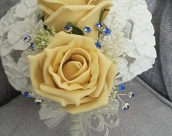 Silk Gold Rose Corsage/Buttonhole/Boutonniere with Gypsohilia and diamantes