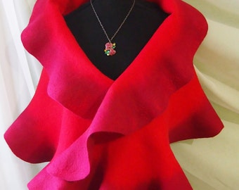 Felted wool scarf-red wool scarf-Felted scarves-Felted shawl-Nuno felted scarf-wool silk scarf