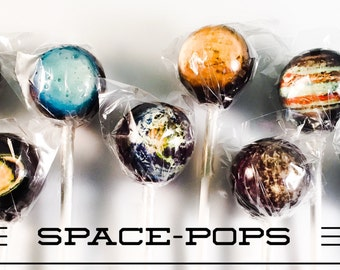 8 Solar System Planetary Hard Candy Lollipops 2
