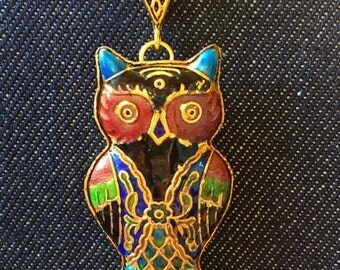 The Owl's Gaze Cloisonné Pendant Necklace