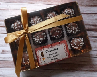Gift Box 12 Prosecco Milk Chocolate Truffles - Personalised Gift Box