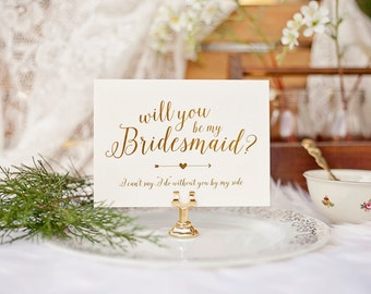 Will You be My Bridesmaid? Bridal Party Invitations - Gold Foil & Cream