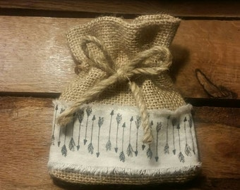 Small Burlap Bag with Arrow Print